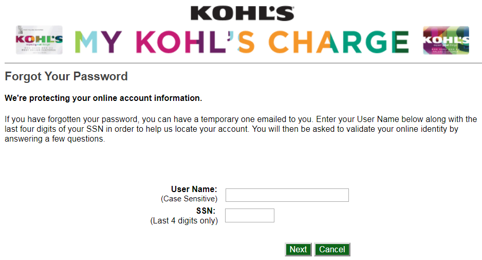 Mykohlscharge Com >> How to Reset MyKohlsCharge Forgot Password - Bank Amity