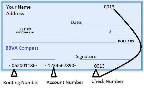 BBVA Compass Routing Number on Check