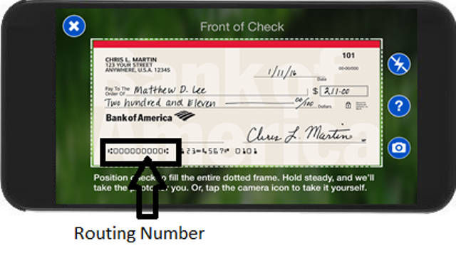 Bank of America Routing Number of on Check