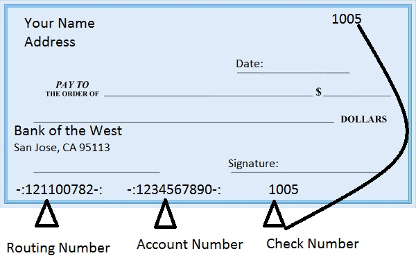 Bank of the West Routing Number on Check