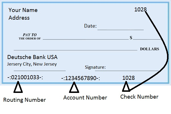 Deutsche Bank USA Routing Number on Check