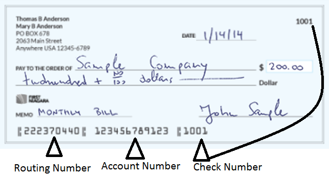 First Niagara Bank Routing Number on Check