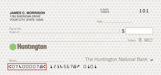Huntington National Bank Routing Number