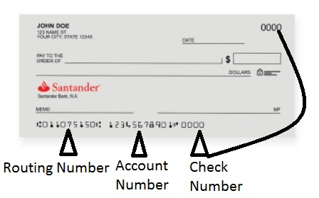 Santander Bank Routing Number on Check