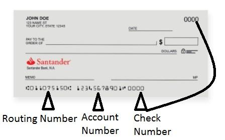 Santander Bank Routing Number on Check