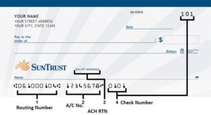 SunTrust Routing Number on Check